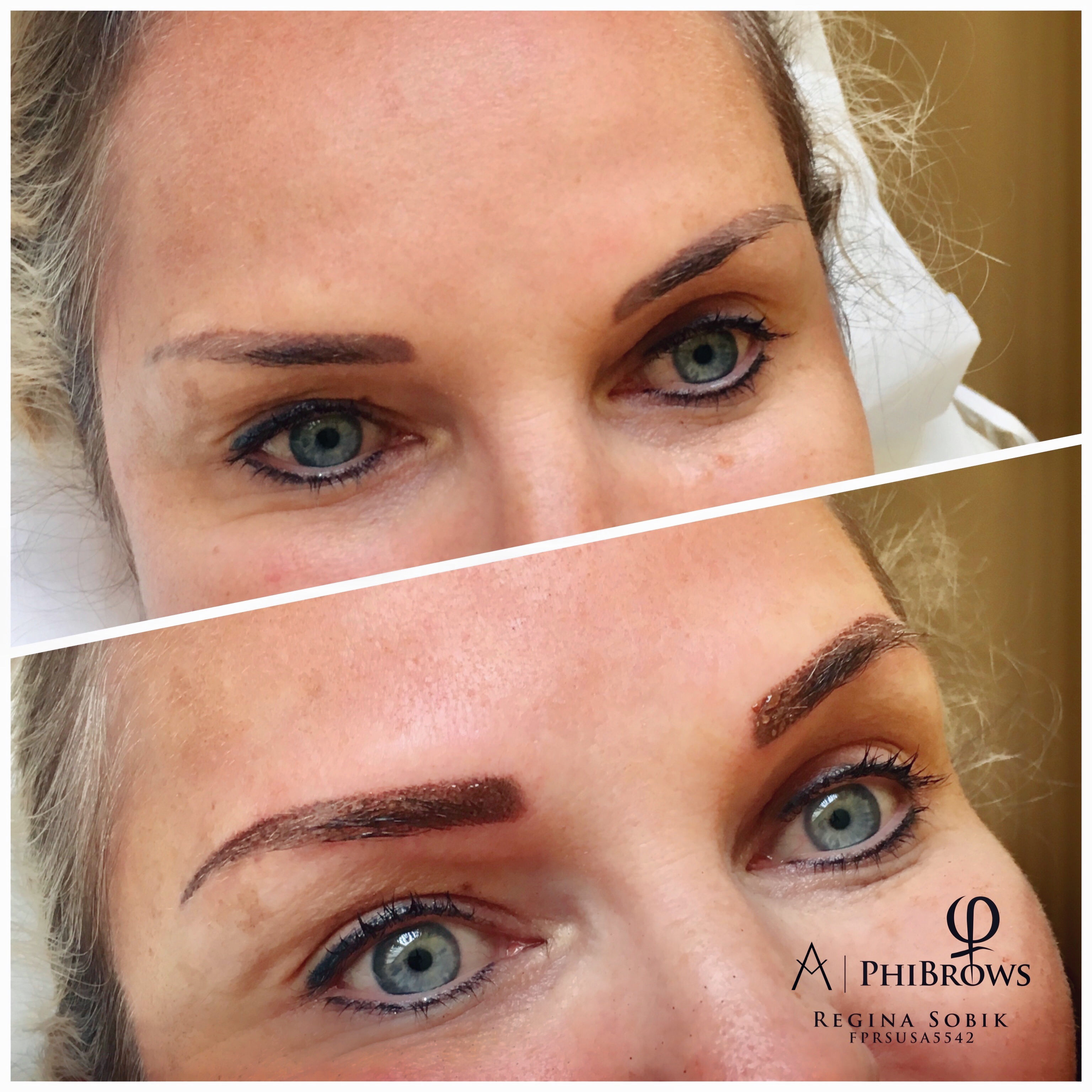 Ombre Eyebrows touchup before & after