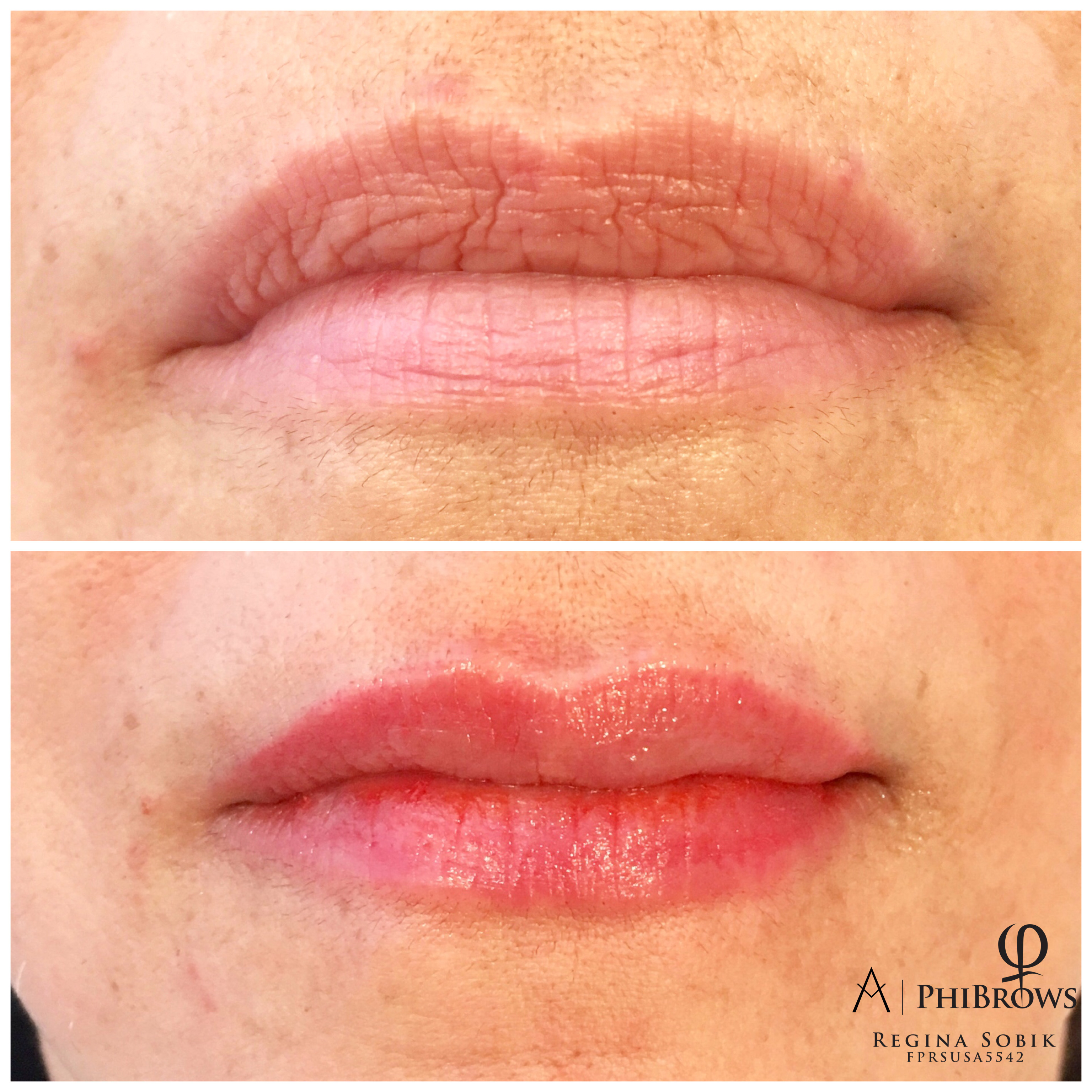 Lipliner right after microblading