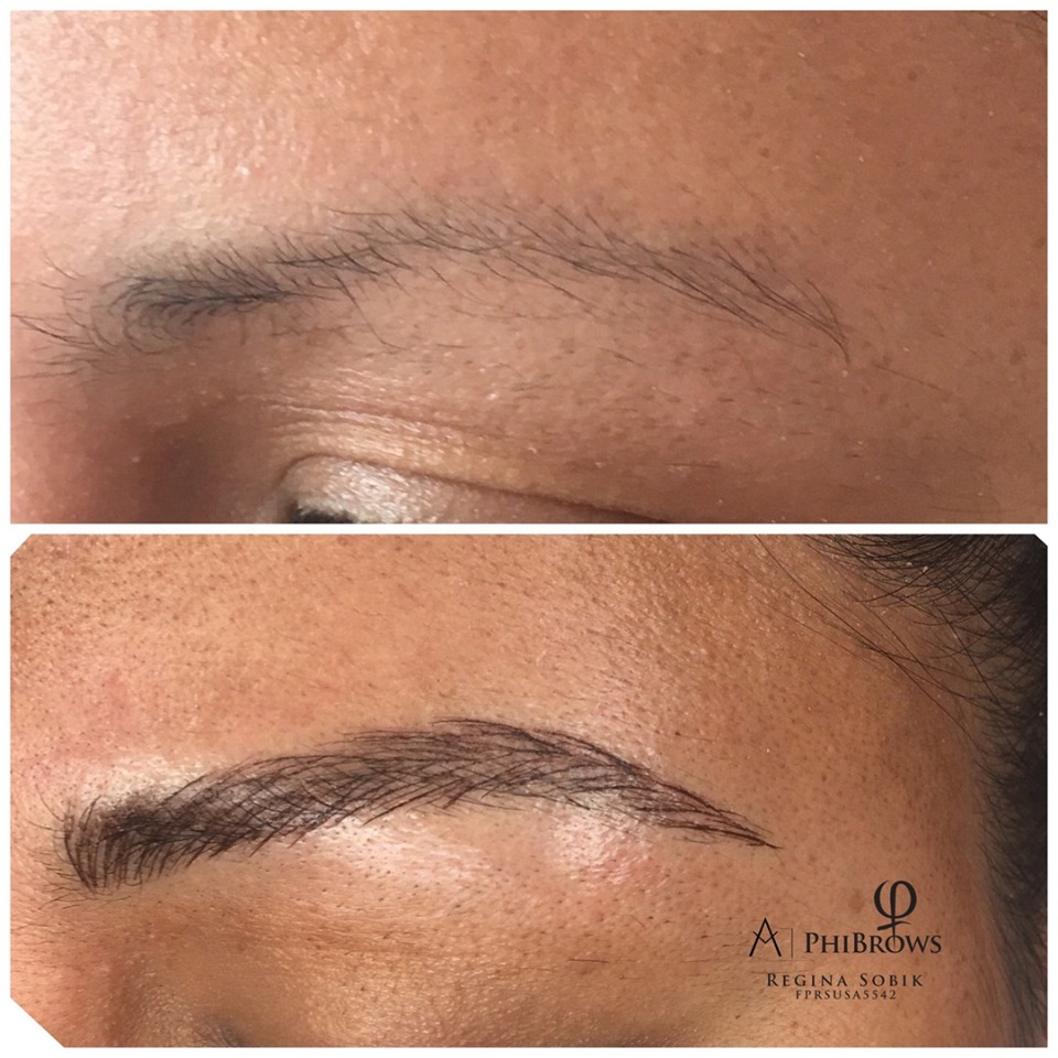 Microblading touchup before & after