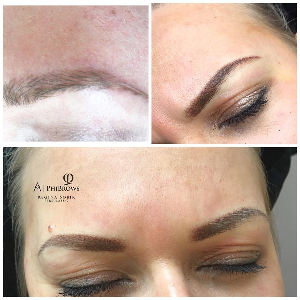 Microblading Soft Powder Brows before & after