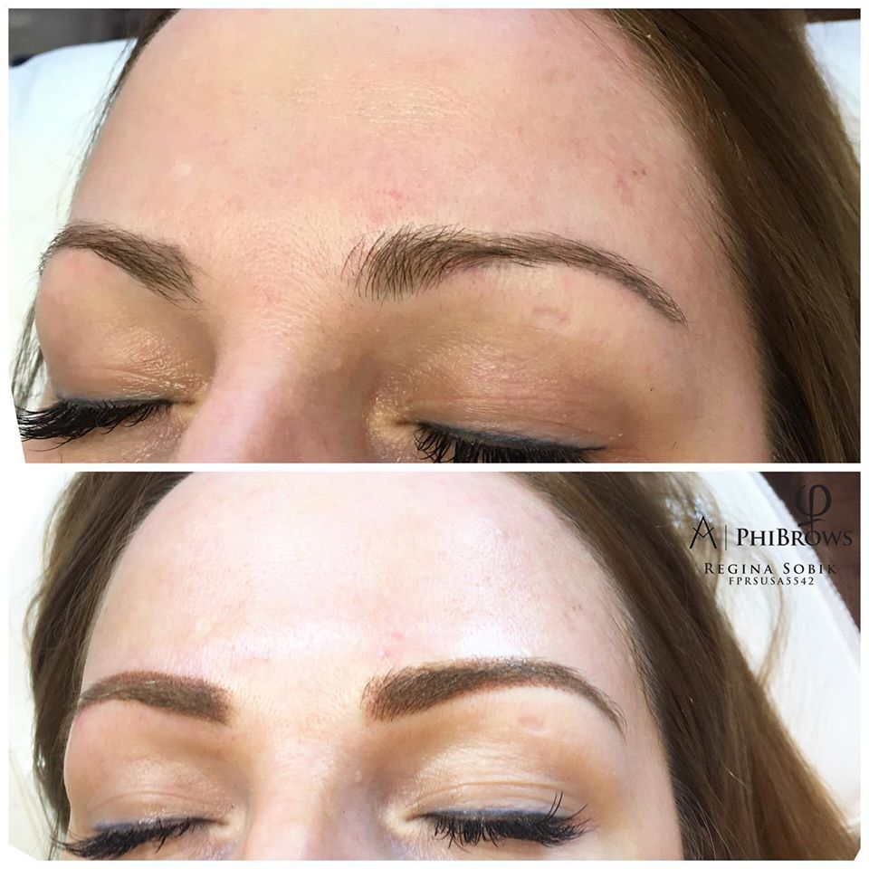 Powder Brows touchup before & after